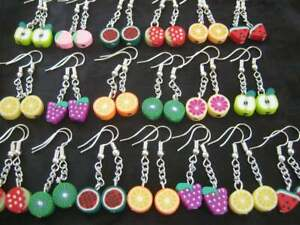 5 Pairs of Fun Polymer Clay Mixed FRUIT Bead Earrings NEW Fashion Jewellery