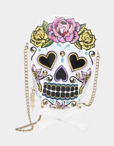 Betsey Johnson Kitsch Rose N Bones Skull Crossbody Bag BJ32240F NEW SEALED