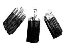 Black TOURMALINE Chakra Crystal Pendant 925 Sterling Silver Necklace HANDMADE