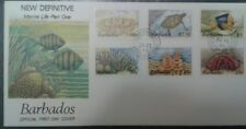 L) 1985 BARBADOS, MARINE LIFE, FISH, TURTLE, CRAB, ANIMALS, NATURE, MULTIPLE STA