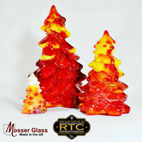 Mosser Red Slag Glass Christmas trees set of three Holiday collectible