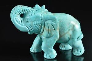 #5946: Japanese Stone jade/jewels elephant STATUE Ornament Figurines Okimono