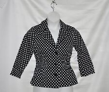 Joan Rivers Polka Dot Signature Jacket with 3/4 Sleeves Size 8 Black/White