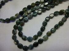 "8x10mm  Flat Oval Gemstone Beads Moss Agate Strand 15.5"" Jewelry Making Beads"
