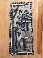 African Mud-cloth Painting/Wall Hanging - BAMANAN WOMAN at work 40x16
