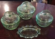 4 Lovely Art Deco Green Glass Dressing Table Items