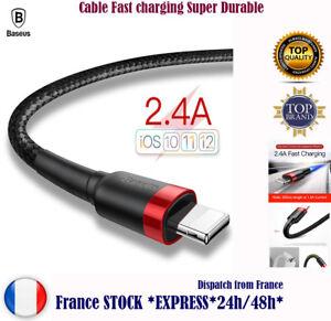 Baseus CABLE CARREGADOR de iPHONE 5 C SE 6 7 8 + X Xs Xr Xs max IPAD IPOD Nylon