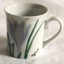 Horchow Collection Saffron White Lavender Green Floral Herb Mug Cup Japan EUC
