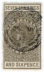 (I.B) New Zealand Revenue : Stamp Duty 7/6d (sideways watermark) Christchurch