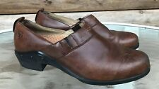 Ariat 8.5 B Western Paddock Brown Slip on Loafers Clogs Womens Flats Shoes 52326
