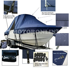 Carolina Skiff 258 DLV Center Console Fishing T-Top Hard-Top Boat Cover Navy