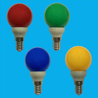 4x 0.5W LED Coloured SES E14 Golf Round Light Bulb Lamp Red Yellow Green Blue