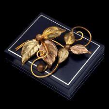 Antique Vintage Art Deco Retro 12k Gold Filled GF Foliate HUGE Spray Pin Brooch