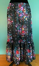 Vintage Women's Floral Pattern Ruffle Hem Long Skirt - Size 16, Black, Euc