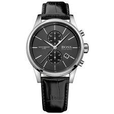 NEW Hugo Boss Gent's Jet Black Leather Strap Chronograph Watch 1513279