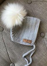 Baby Boy Girl Cozy Crochet Design Wool Bonnet Hat Faux Fur Pom Pom Newborn Grey