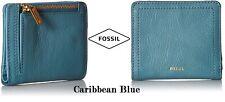 Women's Logan RFID Bifold Wallet in Caribbean Blue, Snap Closure, Zip pouch NWT
