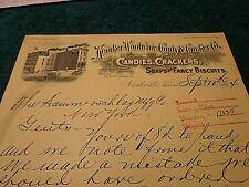 1894 Old Letter: Kemker-Woolwine Candy & Cracker Co. Nashville TN, Signed