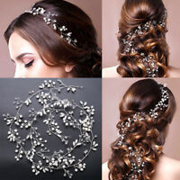 Women Girl Bride Wedding Crystal Pearl Hair Band Garland Flower Headband Lady US