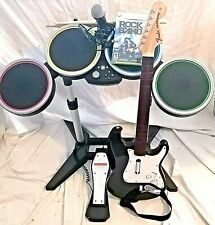 Xbox 360 Rock Band 2 Bundle Drums Fender Stratocaster Guitar wireless Mic