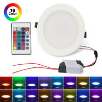 10W 16 Color LED RGB Recessed Ceiling Light Panel Down Lamp+IR Remote Control US