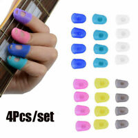 4Pcs Silicone Guitar Finger Thumb Guards Protector Fingertip For Ukulele Guitar~