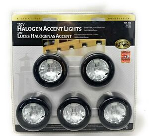 5 Pack Halogen Accent Lights Black 120V Hampton Bay Under Cabinet 154 362 New