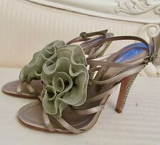 Beautiful Bourne mink satin strappy sandals with ruffle flower & rhinestones UK5