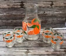 VINTAGE ANCHOR HOCKING ORANGE JUICE CARAFE PITCHER W/ 4 MATCHING GLASSES