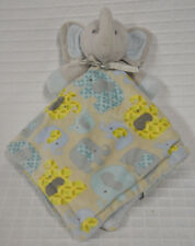 BLANKETS And BEYOND Elephant NUNU Gray AQUA Yellow Velour SECURITY Blanket LOVEY