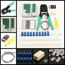 Network Ethernet LAN Kit RJ45 Cat5e Cat6 Cable Tester Crimper Crimping Tool Set
