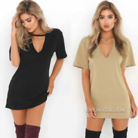 Women Short Sleeve Chocker V Neck Solid Loose T-Shirt Long Top Blouse Mini Dress