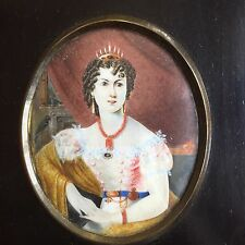 Antique Portrait Miniature Of A Queen Wearing A Crown Coral Necklace