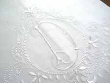 Large White Linen Guest Hand Bathroom Towel Monogrammed Initial D Hemstitched
