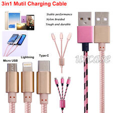 3ft 3in1 Charging Cable Lighting , Type C,  Micro USB Charging Sync Data Charger