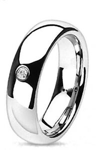 Mens High Polish Surgical Steel Ring with CZ Stone-Eternity, Wedding Engagement