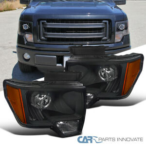 For 09-14 Ford F150 Black Retrofit Style Projector Headlights Lamps Left+Right