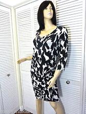 NWT-$215 DKNY DONNA KARAN NEW YORK DRESS SMALL BLACK & WHITE SURPLICE STRETCHY