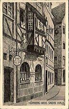 NÜRNBERG ~1925 Künstlerkarte Hans Sachs Haus Gebäude Echte Kupfertiefdruck AK