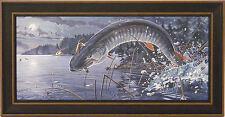 BROKEN SOLITUDE by Chris Kuehn 10x20 FRAMED PRINT Musky Muskie Fishing Fish