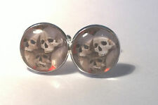 Gothic Skull Pile Glass domed Cufflinks