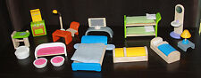 Huge Lot 24 Pieces Plan Toys Wooden Doll House Furniture Bed Bunk Tv Chairs Lamp