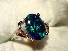 Opal Ring Ladies Sterling Silver 925 & CZ,13x9mm Oval Shape Triplet. item 100497
