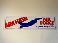 """Vintage 1984 Air Force """"A Great Way of Life"""" Bumper Sticker Aim High See pics!"""