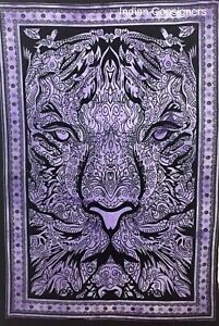 Purple Color Small Poster Tapestry Lion Face Design Wall Hanging Beautiful Art