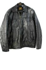 MEN'S GENUINE BLACK LEATHER JACKET ,,, SIZE UK XL , GREAT CONDITION