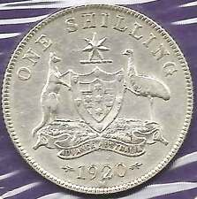 1920 M KGV AUSTRALIA 1/- ONE SHILLING Sterling Silver good Extremely Fine rare