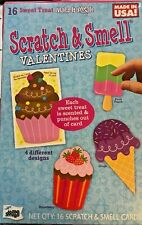 16 Sweet Treat Scratch & Smell Valentines Kids School Class Room V-Day Cards Q1