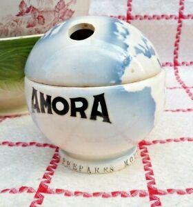 "ANCIEN POT A MOUTARDE PUBLICITAIRE ""AMORA"" GLOBE TERRESTRE NE FAÏENCE DE DIGOIN"