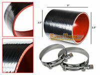"""2.5"""" Silicone Hose/Pipe Straight Coupler BLACK +T-Bolt Clamp For Mercury/Volvo"""